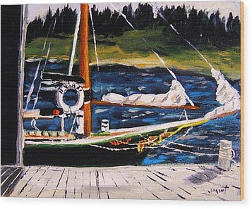 Wood Print featuring the painting Island Berth by John Williams