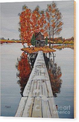 Island Cabin Wood Print by Marilyn  McNish