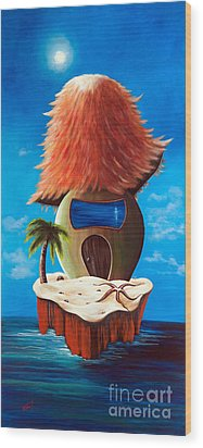 Island Cottage By Shawna Erback Wood Print by Shawna Erback