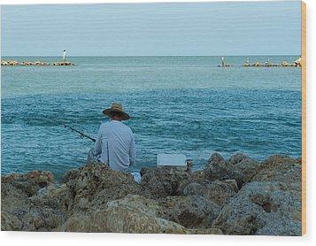 Island Fisherman Wood Print