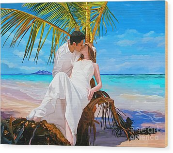 Wood Print featuring the painting Island Honeymoon by Tim Gilliland