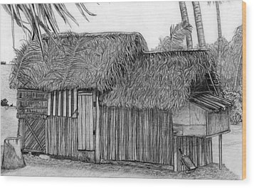 Wood Print featuring the drawing Island House 1 by Lew Davis