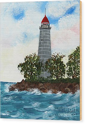 Island Lighthouse Wood Print by Barbara Griffin