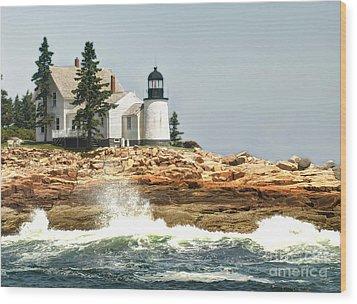 Island Lighthouse Wood Print by Raymond Earley
