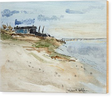 Wood Print featuring the painting Isolated Beach House by Michael Helfen