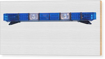 Isolated Police Emergency Light Roof Bar Wood Print by Fizzy Image