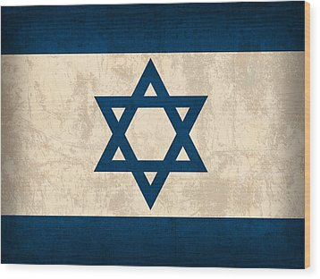 Israel Flag Vintage Distressed Finish Wood Print by Design Turnpike