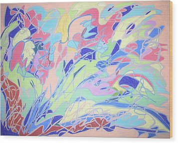 Wood Print featuring the painting Israel Synchromy by Esther Newman-Cohen