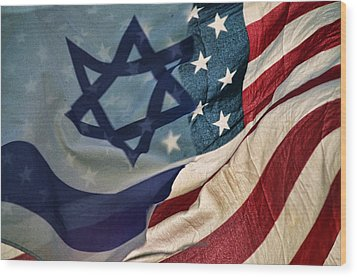 Israeli American Flags Wood Print by Ken Smith