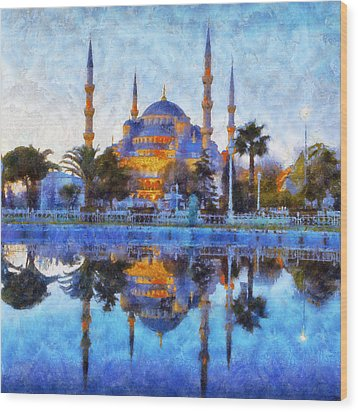 Istanbul Blue Mosque  Wood Print by Lilia D