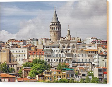 Istanbul Cityscape And Galata Tower Wood Print by Artur Bogacki