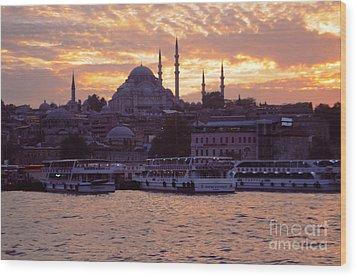 Istanbul Port Sunset Wood Print