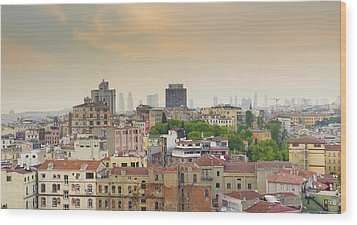 Istanbul Skyline Wood Print by Hans Engbers