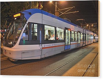 Istanbul Tram At Night Wood Print by Imran Ahmed