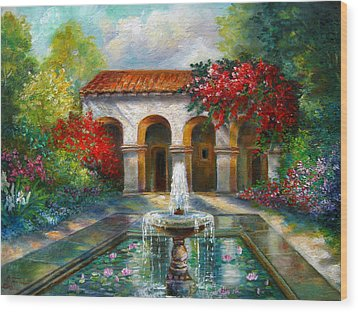 Italian Abbey Garden Scene With Fountain Wood Print by Regina Femrite
