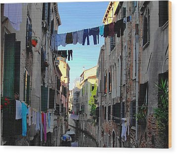 Italian Clotheslines Wood Print by Natalie Ortiz