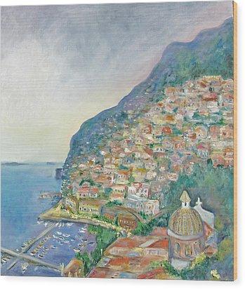 Italian Coast At Dusk Wood Print by Barbara Anna Knauf