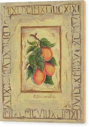 Italian Fruit Apricots Wood Print by Marilyn Dunlap