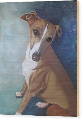 Wood Print featuring the painting Italian Greyhound by Sharon Schultz