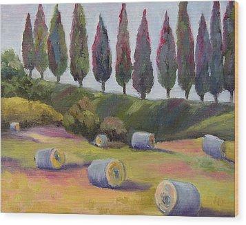 Italian Hay Bales Wood Print