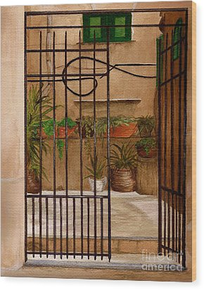 Wood Print featuring the painting Italian Iron Gate by Nan Wright