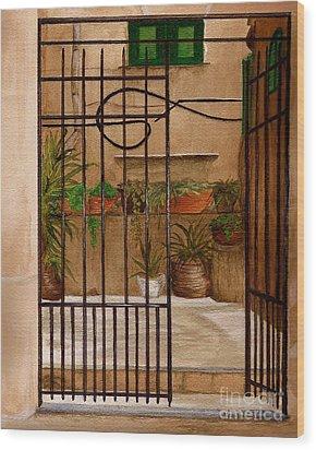 Italian Iron Gate Wood Print by Nan Wright