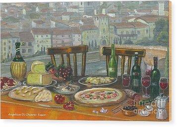 Italian Lunch Wood Print