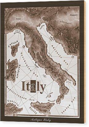Italian Map Wood Print by Curtiss Shaffer