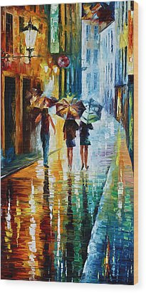 Italian Rain Wood Print by Leonid Afremov