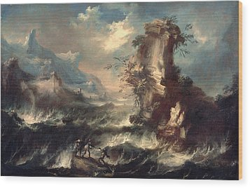 Italian Seascape With Rocks And Figures Wood Print by Marco Ricci