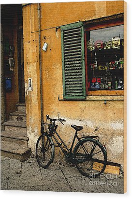 Italian Sidewalk Wood Print by Nancy Bradley