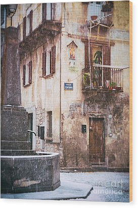 Wood Print featuring the photograph Italian Square In  Snow by Silvia Ganora