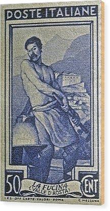 Italian Stamp - Circa 1955  Wood Print by Bill Owen