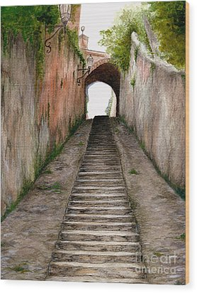Wood Print featuring the painting Italian Walkway Steps To A Tunnel by Nan Wright