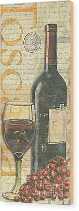 Italian Wine And Grapes Wood Print by Debbie DeWitt