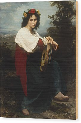 Italian Woman With A Tambourine Wood Print by William Adolphe Bouguereau