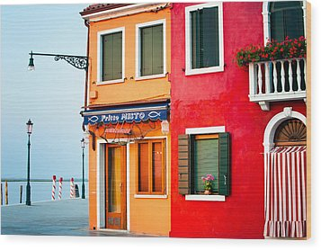 Italy Burano Fish Shop Wood Print by Joan Herwig