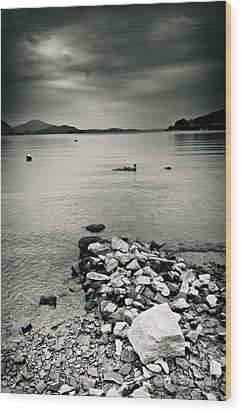 Italy Lake Maggiore Moody View Wood Print by Silvia Ganora
