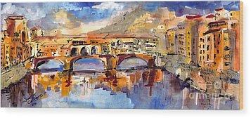 Italy Ponte Vecchio Florence Wood Print