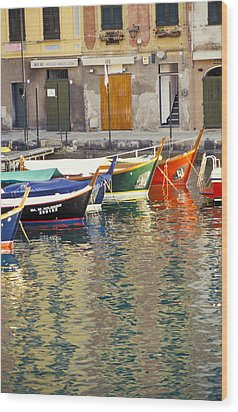 Italy Portofino Colorful Boats Of Portofino Wood Print by Anonymous