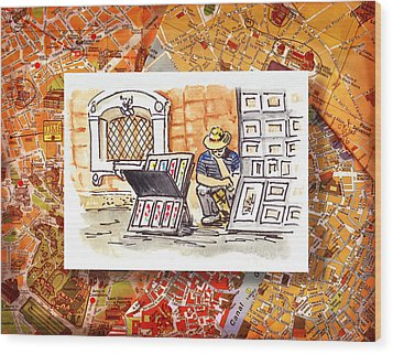 Italy Sketches Florence Art Fair At San Lorenzo Cathedral Wood Print by Irina Sztukowski