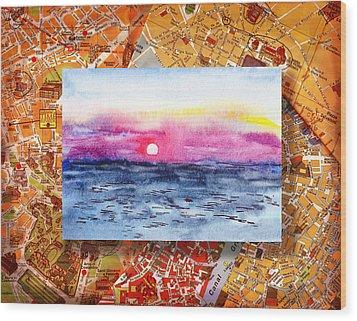 Italy Sketches Sorrento Sunset Wood Print by Irina Sztukowski