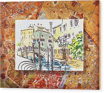 Italy Sketches Venice Canale Wood Print by Irina Sztukowski