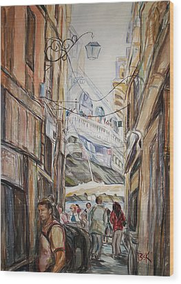 Wood Print featuring the painting Italy Travelers by Becky Kim