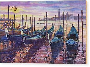 Italy Venice Early Mornings Wood Print by Yuriy Shevchuk