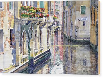 Italy Venice Midday Wood Print by Yuriy Shevchuk
