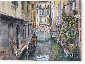 Italy Venice Trattoria Sempione Wood Print by Yuriy Shevchuk
