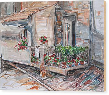 Wood Print featuring the painting Italy Visit Over The Window by Becky Kim