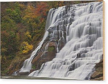 Ithaca Falls In Autumn Wood Print