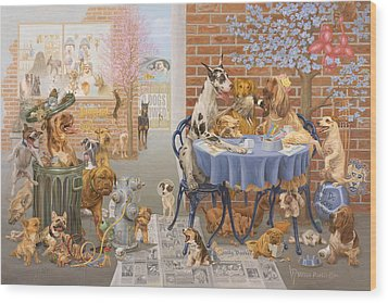 It's A Dog's World Wood Print by Victor Powell
